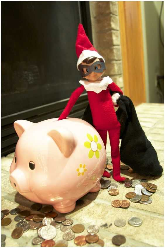Elf On the Shelf - stealing from the piggy bank