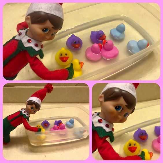 Elf On the Shelf cute - playing with rubber duckies