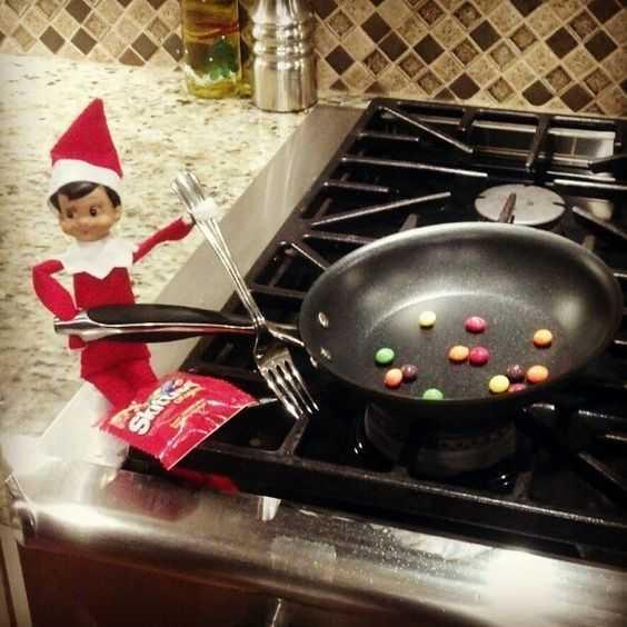 Elf On the Shelf kitchen - cooking skittles