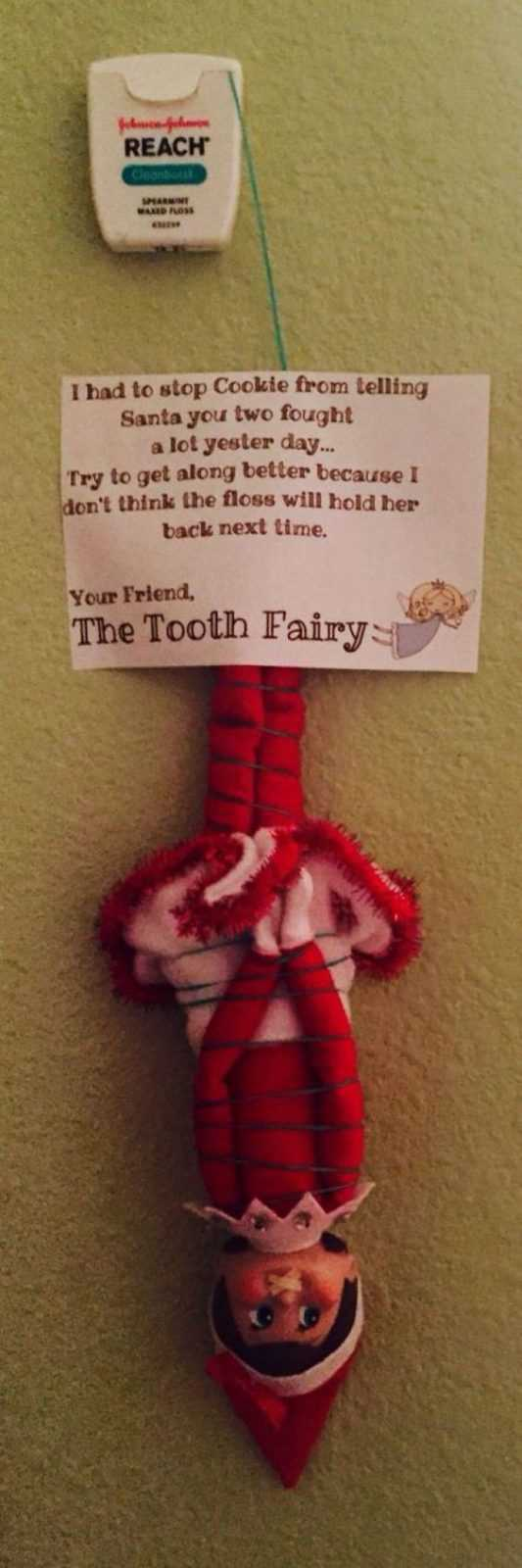 Elf On the Shelf funny - elf tied up by tooth fairy