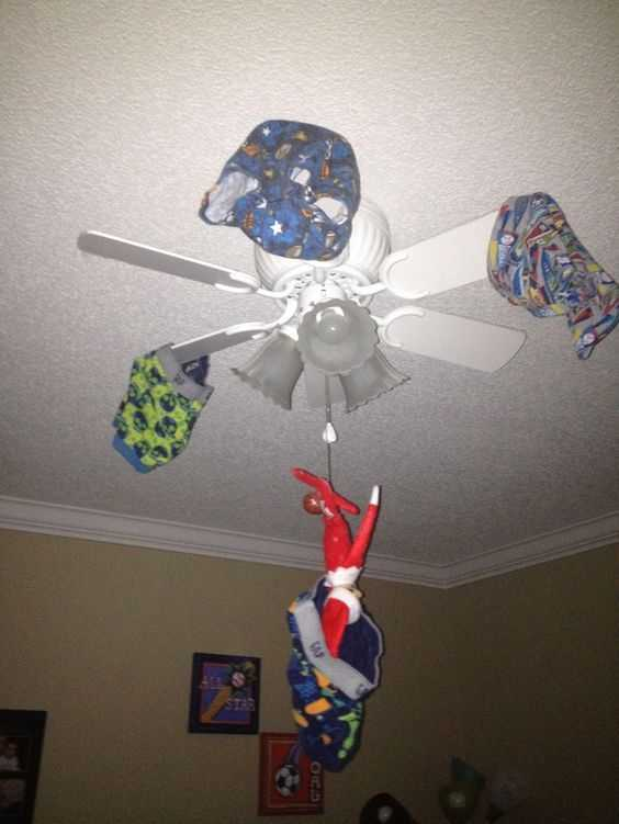 Elf On the Shelf funny - caught in the act hanging underwear on fan