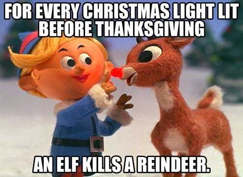 it's too early for christmas meme - elf kills
