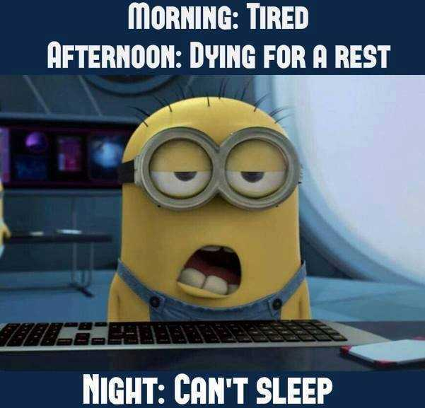 A funny minion quote about how this minion feels in the morning, afternoon and night
