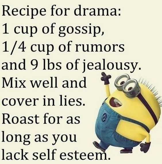 Minions quote about recipe for drama