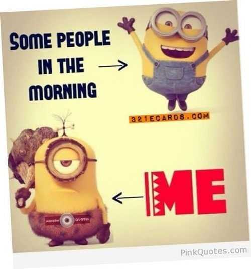 A Funny pictorial minion quote comparing 2 minions' mood in the morning