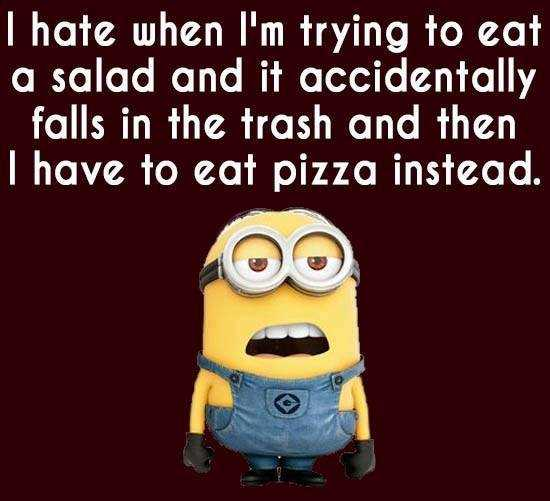 Funny minion quote about trying to eat a salad