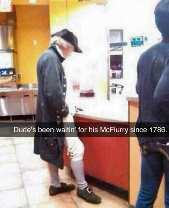 Funny Images founding father waiting for mcflurry