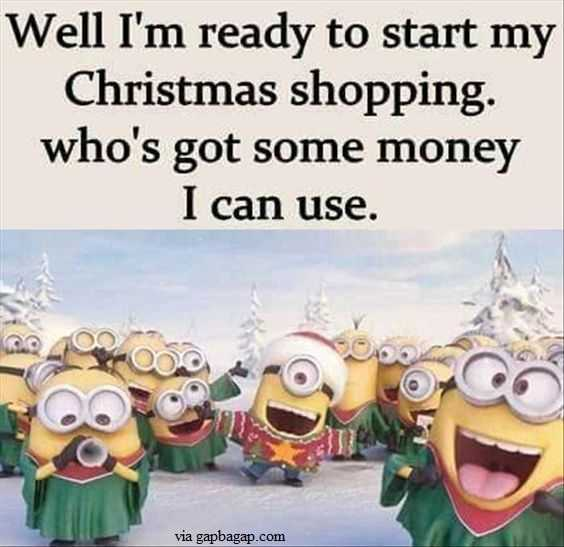 Funny minions meme about broke at christmas