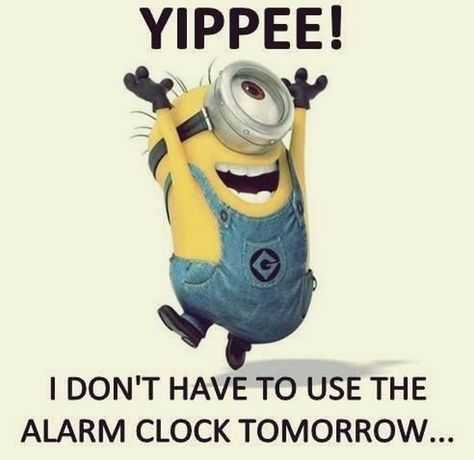 31 Funny Laugh-out-Loud Minions Pictures - no alarm clock tomorrow