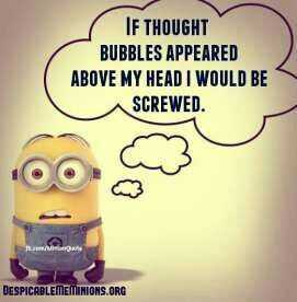 funny minions pictures - thought bubble