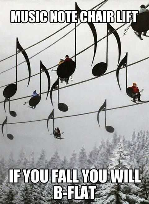 Funny Dank Memes - music note chairlift