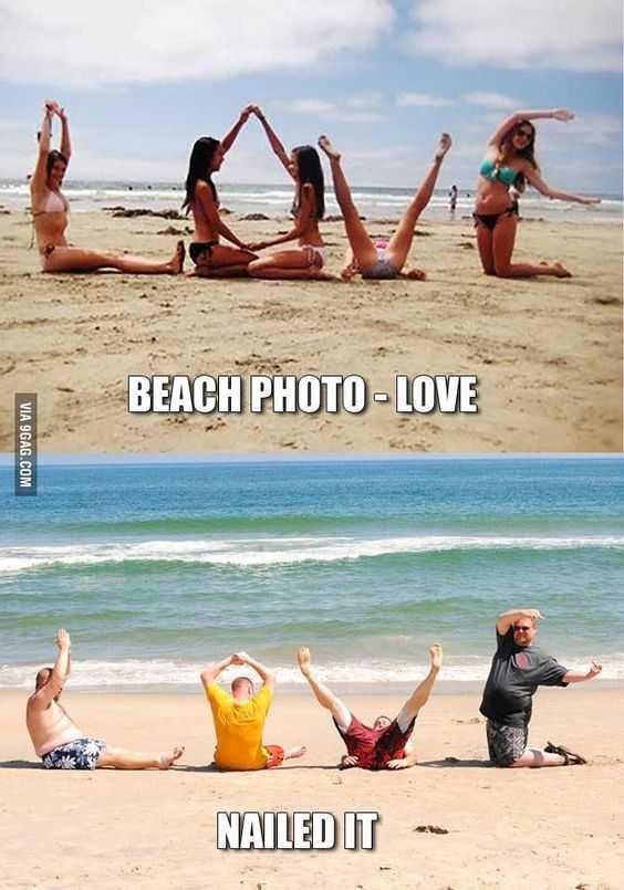 "Funny Nailed It Meme - Girls Posing for ""LOVE"" Beach Photo vs Guys posing for ""LOVE"" beach photo."