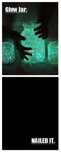 Funny Nailed It Meme - glow jar vs no jar