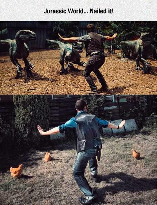 Funny Nailed It Meme - Jurassic Park vs Chicken Park