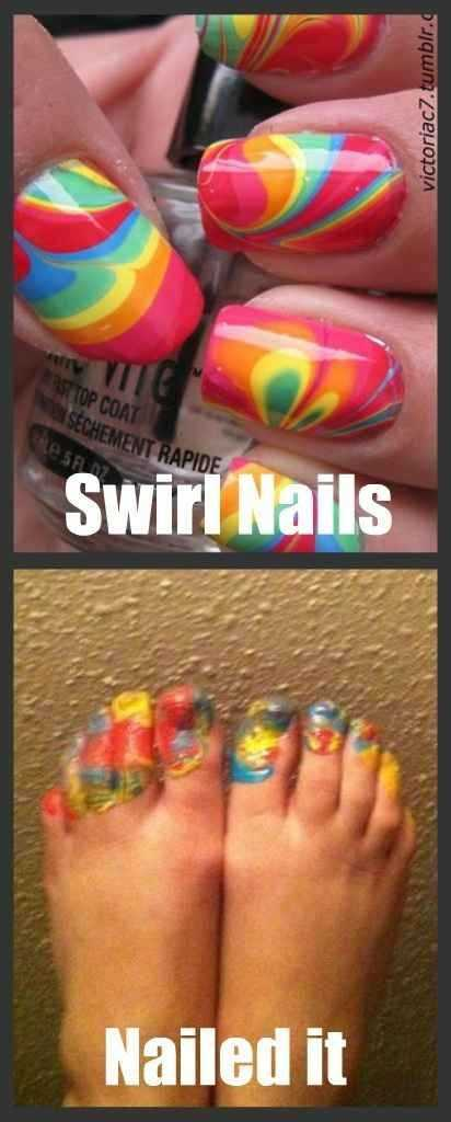 Funny Nailed It Meme - finger nail swirls vs toe nail mess