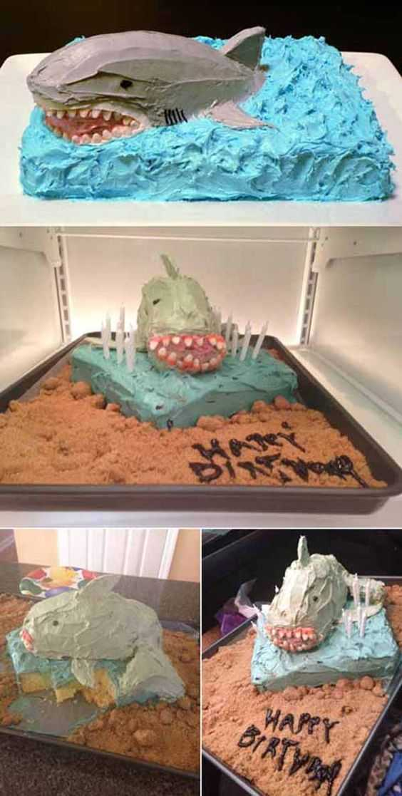 Funny Nailed It Meme - shark cake
