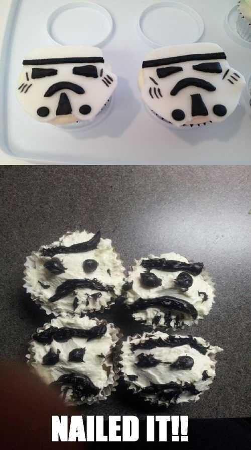 Funny Nailed It Meme - storm trooper cakes vs stormy mess