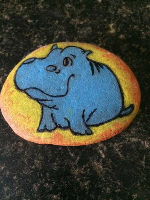 Painted Rock Idea Hippos
