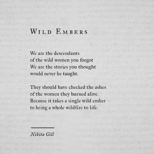 Poetic Quote - Wild Embers