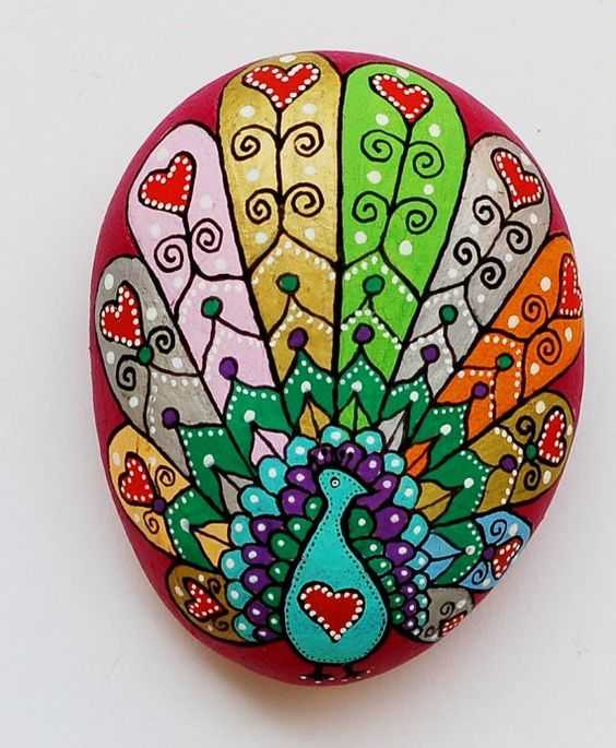 Painted Rock Design - Peacock