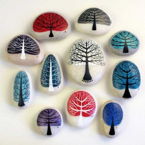 Painted Rock Idea Easy - Trees