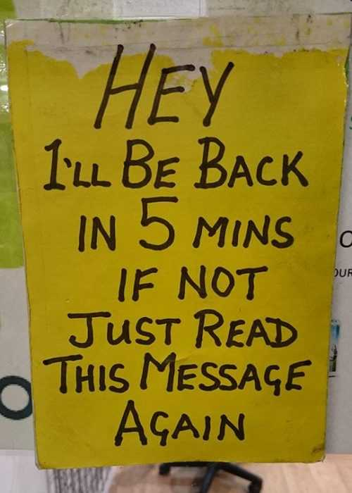 funny signs - back in 5