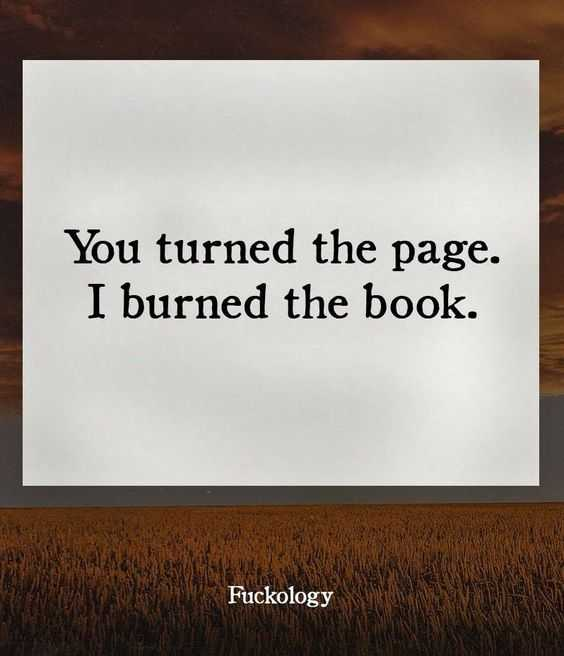 Funny quote for life - turning the page