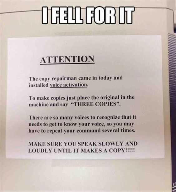 funny april fools pranks - voice activated copier