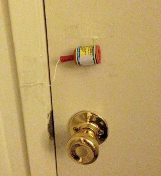 funny april fools pranks - fire cracker in door