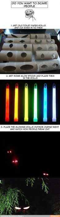 funny april fools pranks - toilet roll glow sticks