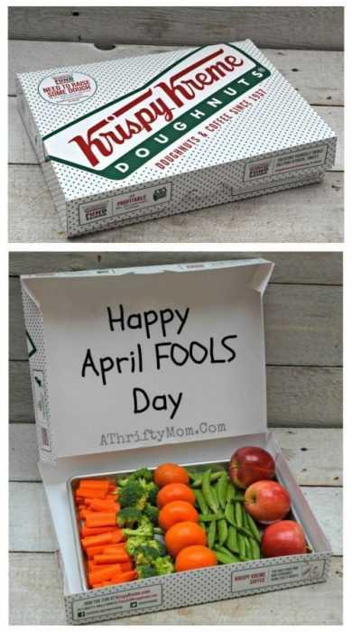hilarious april fools pranks - vegetables in donut box