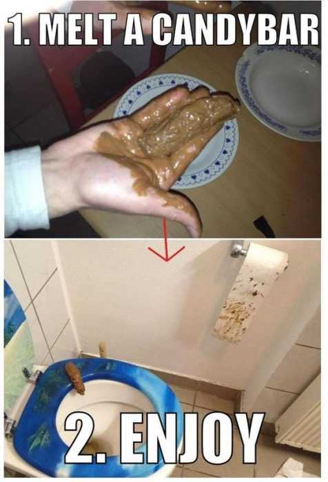 hilarious april fools pranks - melted candy turd
