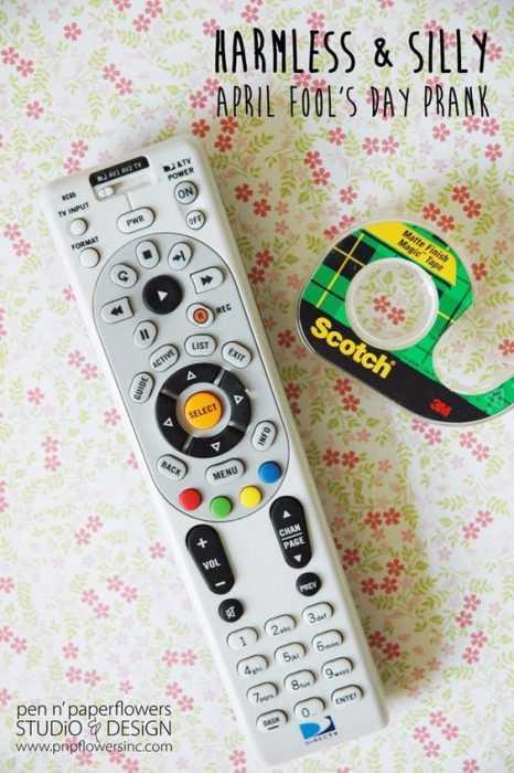funny april fools jokes - tape on tv remote transmitter