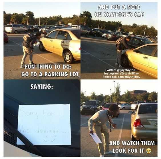 hilarious april fools joke idea - fake damage note on car windshield