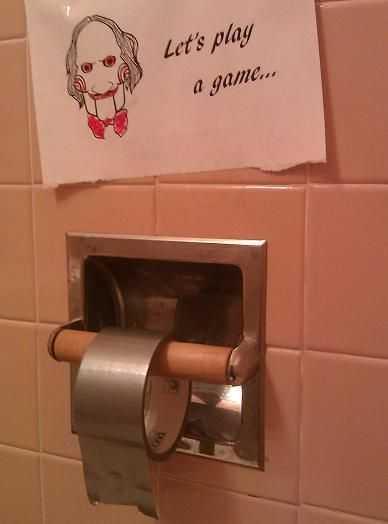 hilarious toilet paper joke - duct tape TP
