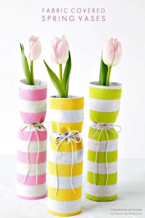 Charming DIY Spring Project Ideas - fabric covered spring vases