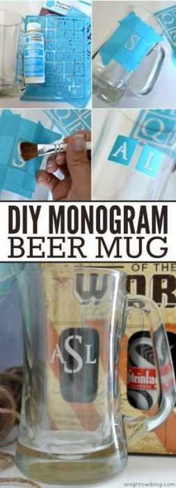 Diy Monogram Beer Mugs