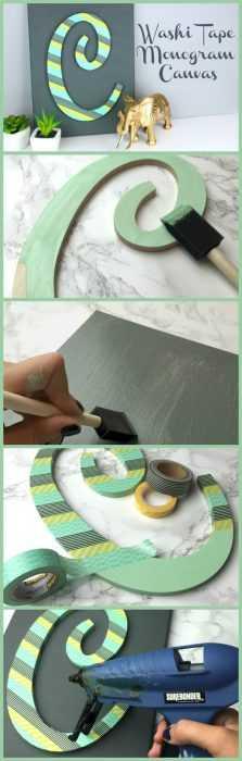 Washi Tape Monogram Diy