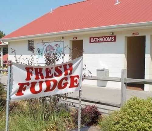 Funny Sign fail - don't ask where your fudge came from
