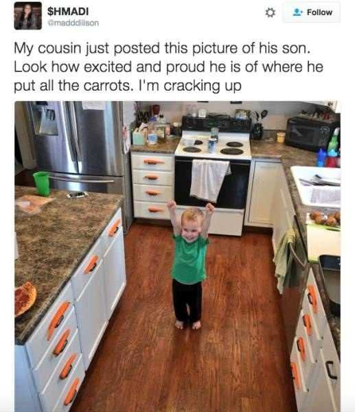 Funny Kid Pictures - carrot drawers