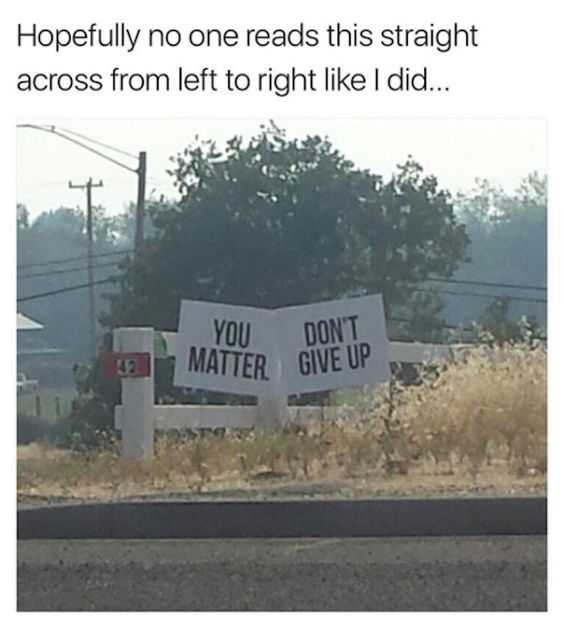 funny signs and placements - negativity