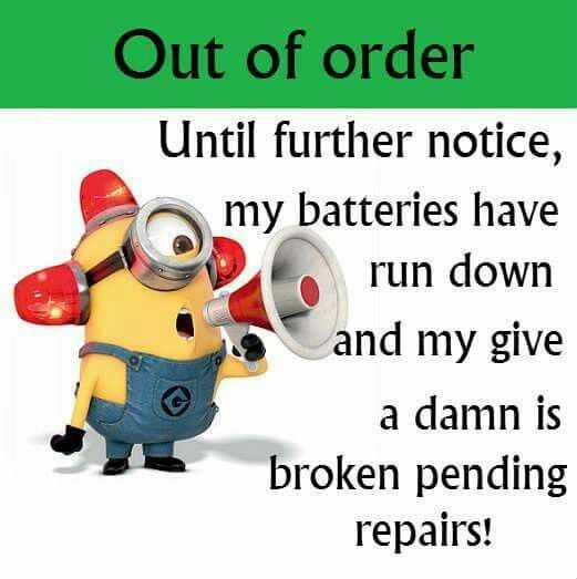 Sarcastic Minion Quote - Out Of Order