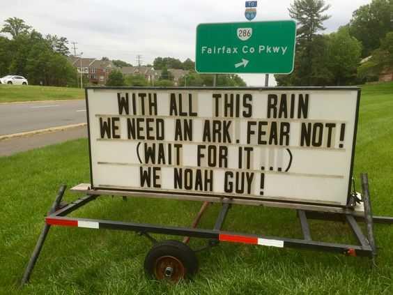Funny Church Signs - Rain