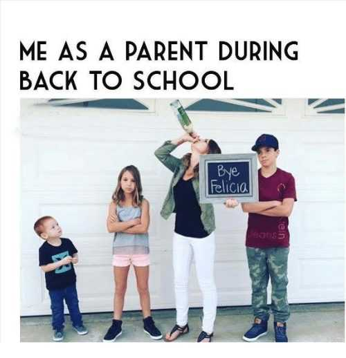 first day of school meme showing a mom drinking wine from a bottle holding up a good bye sign