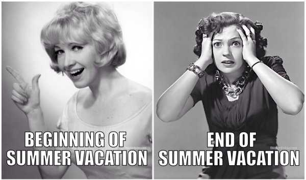 meme showing difference between beginning of summer and end of summer