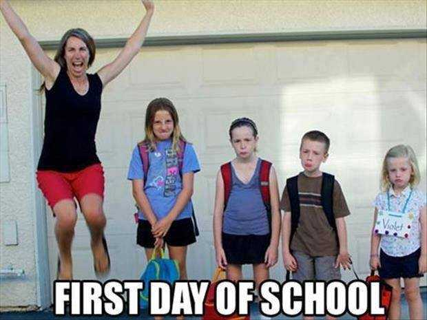 first day of school meme showing a mom jumping for joy and her kids all frowning