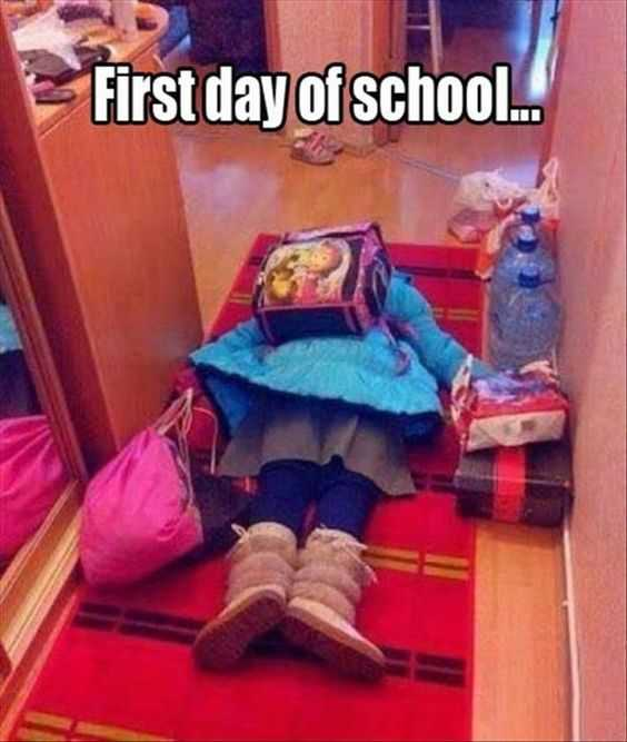 first day of school meme feature a child lying face down on carpet