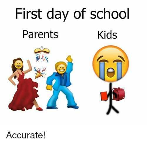 best first day of school meme featuring parents with dancing emoji and kids with crying emoji