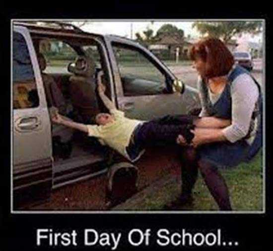 meme featuring a mom dragging her kid out of the car on the first day of school