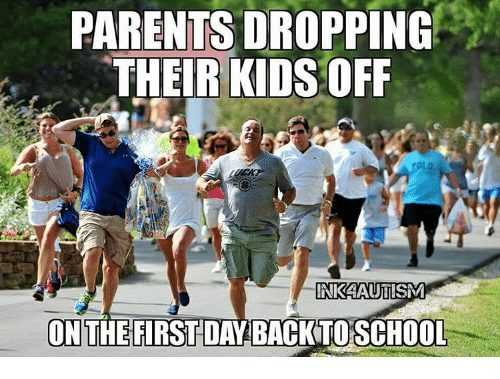meme showing parents running away from school after they dropped their kids off on the first day